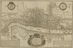 A plan of London Westminstr & Southwark, wth ye r. Thames as they were survey'd & publish't by authority towd ye latter end of ye reign of Queen Elizabeth